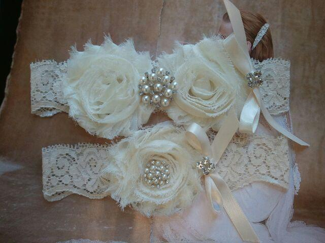 Hochzeit - SALE - Shop Best Seller- Wedding Garter Set- Ivory Flowers on a Ivory Lace with Pearl & Rhinestone - Style G291