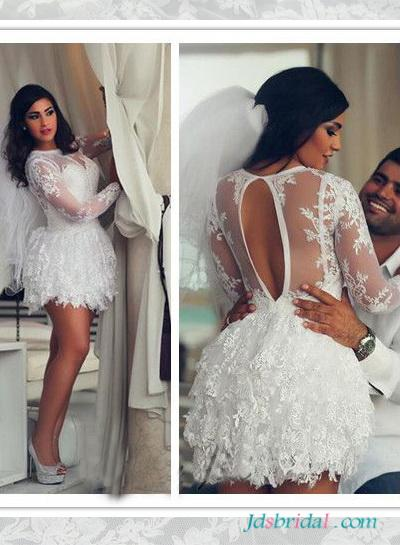 Mariage - H1642 Sexy short mini lace wedding dress with open back
