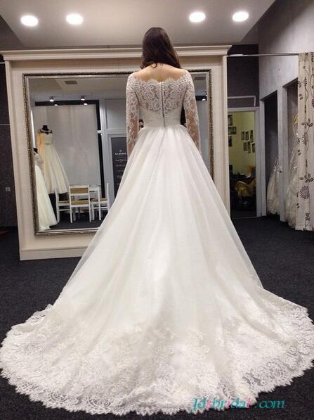 Wedding - H1643 Beautiful lace scoop neckline wedding dress with sleeves