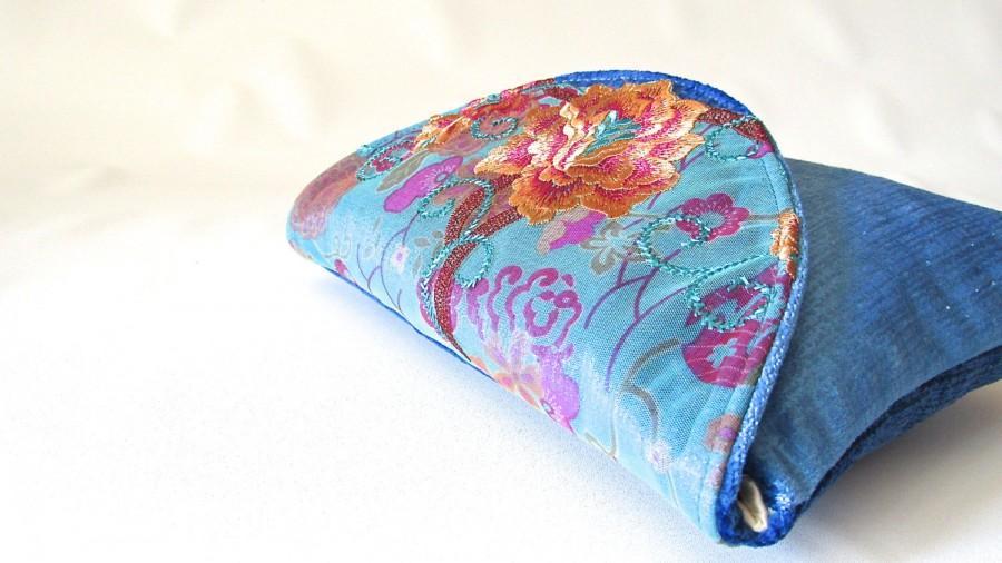 Hochzeit - Blue Wedding Clutch, Velvet bridal clutch, lace bridesmaid clutch,  orange floral lace clutch purse, wedding gift, something blue , Azure