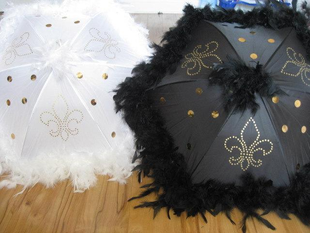 "Hochzeit - Bride and Groom New Orleans Wedding Second Line Umbrellas- set of 2- MEDIUM 19"" size- GOLD ACCENTS- hand painted fleur de lis, sequins, boa"