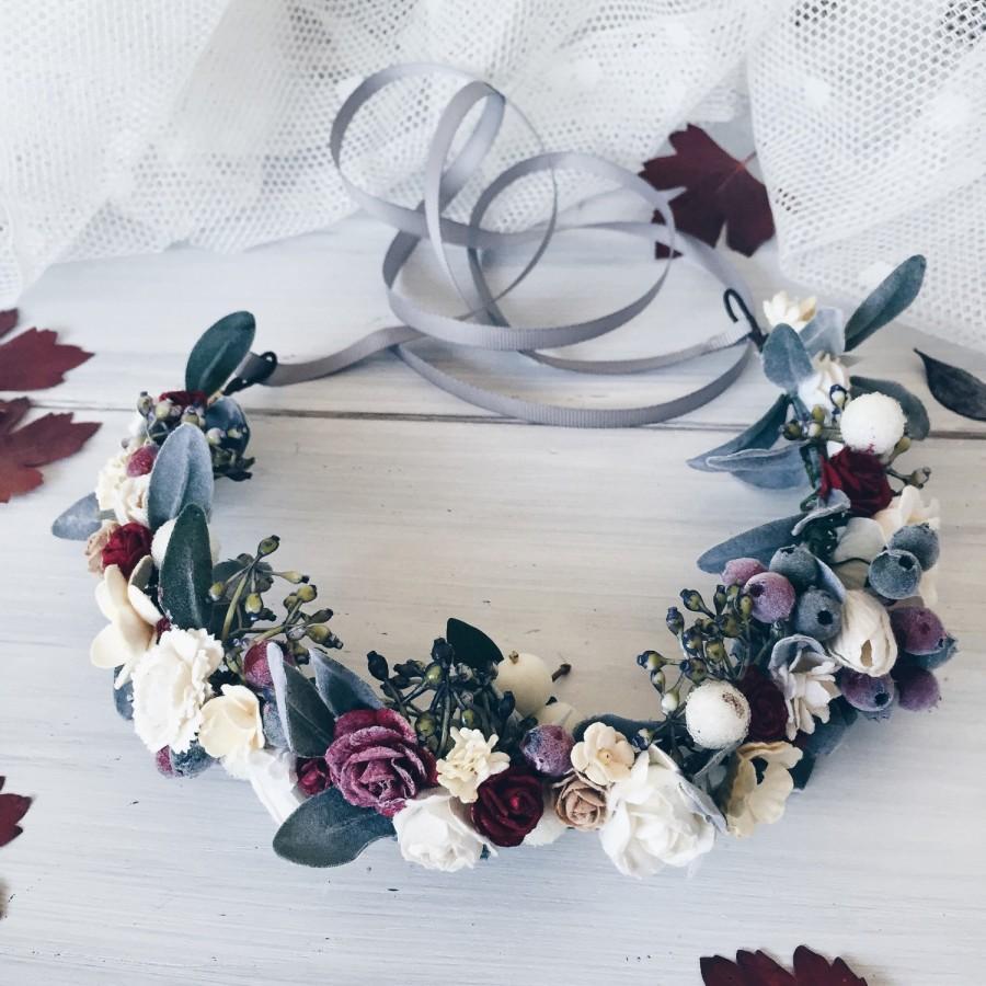 Mariage - Leaf wedding crown, Bridal floral crown, Floral crown, Green leaf crown, Flower crown, Rustic wedding, Bridal headband, Woodland Wedding