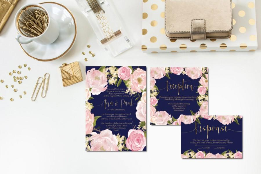 Wedding - Navy + Blush + Gold Wedding Invitations