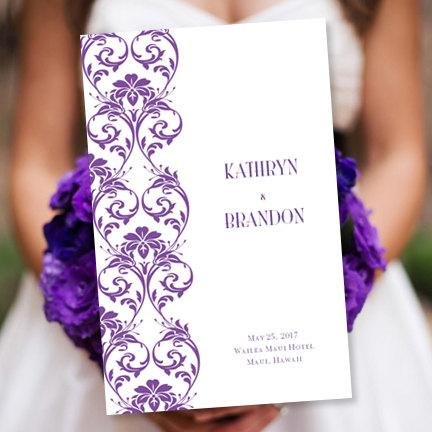"Wedding - Wedding Program Template ""Damask"" Purple"