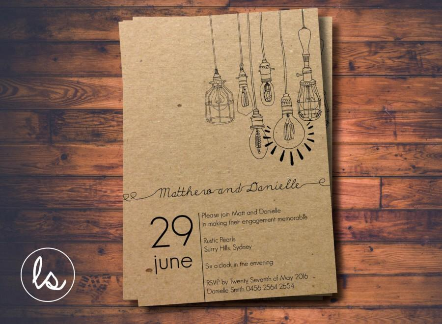 diy printable light pendant rustic invitation engagement