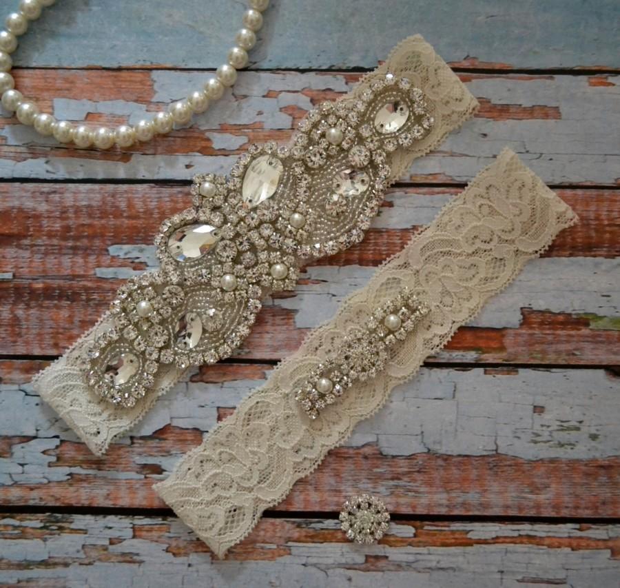 Wedding - Wedding Garter, Rhinestone And Pearl Wedding Garter Set, Rhinestone & Pearl Bridal Garter Belt