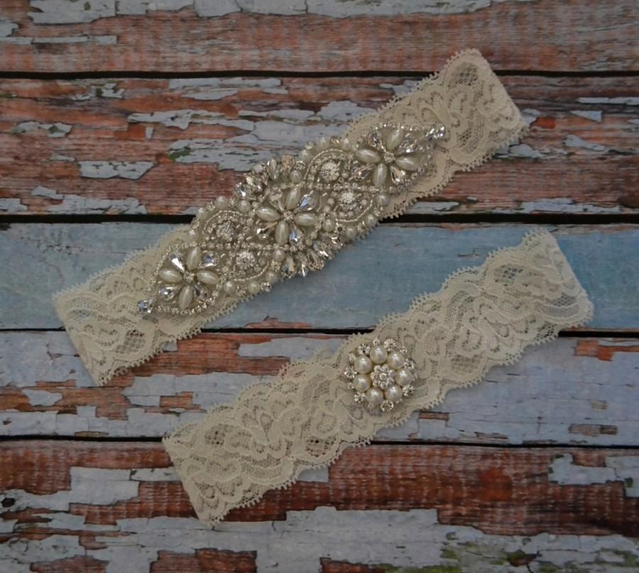 Mariage - Wedding Garter, Wedding Garter Set, Rhinestone & Pearl Bridal Garter Set, Wedding Garter Belt