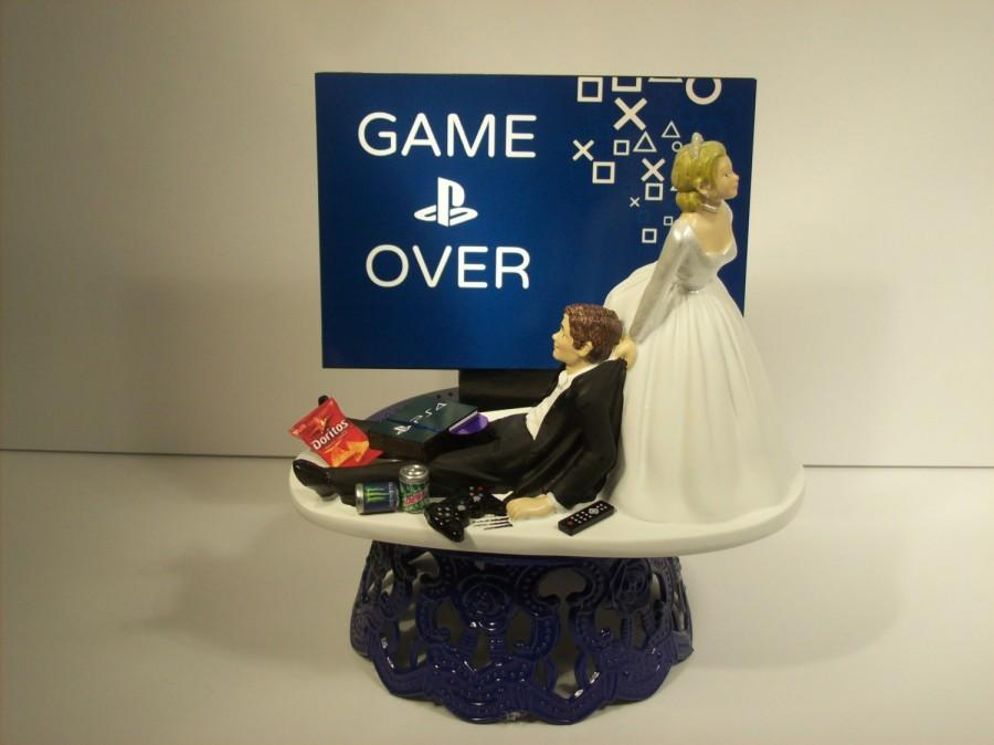 Over Bride And Groom Playstation Funny Wedding Cake Topper Video S Can Be Personalized With Your Names