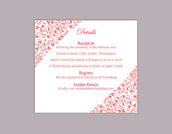 Nozze - DIY Wedding Details Card Template Editable Text Word File Download Printable Details Card Red Details Card Elegant Information Cards