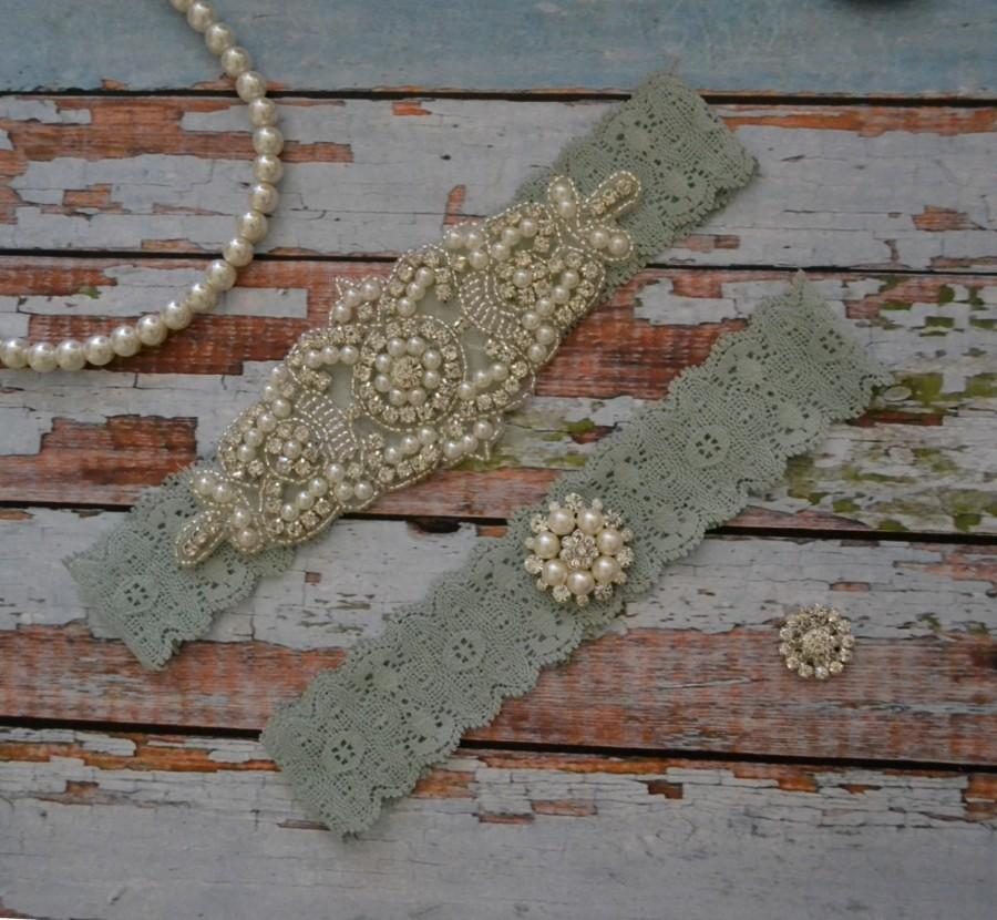 Mint Green Wedding Garter Lace Rhinestone Pearl Set Bridal Belt Vintage Style
