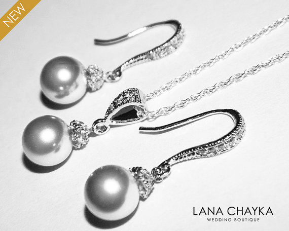 Boda - Light Grey Pearl Earrings and Necklace Set STERLING SILVER Cz Grey Pearl Set Swarovski 8mm Pearl Necklace&Earrings Set Free US Shipping