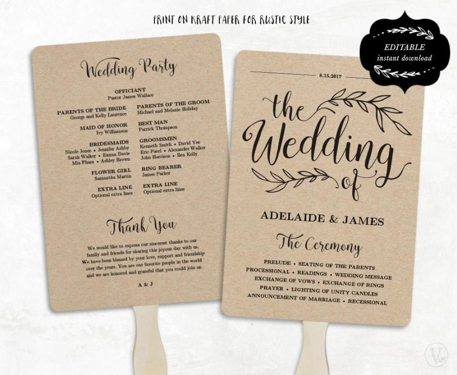 Printable wedding program template fan wedding program kraft paper program wedding fans for Wedding program fans templates free