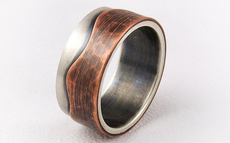 Elegant Rustic Engagement Ring Mens Wedding Ring Silver And Copper