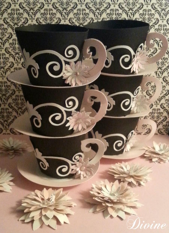 customized tea cup favors set of 12 tea party decor 25 x 25 tea cup cupcake holder bridal shower baby shower vintage