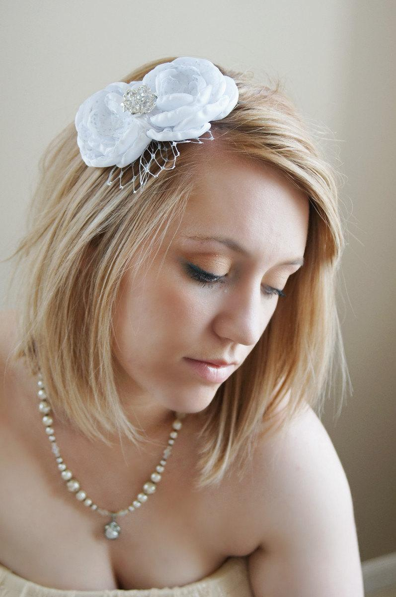 Handmade White Flower Bridal Headband With Silver Russian Netting
