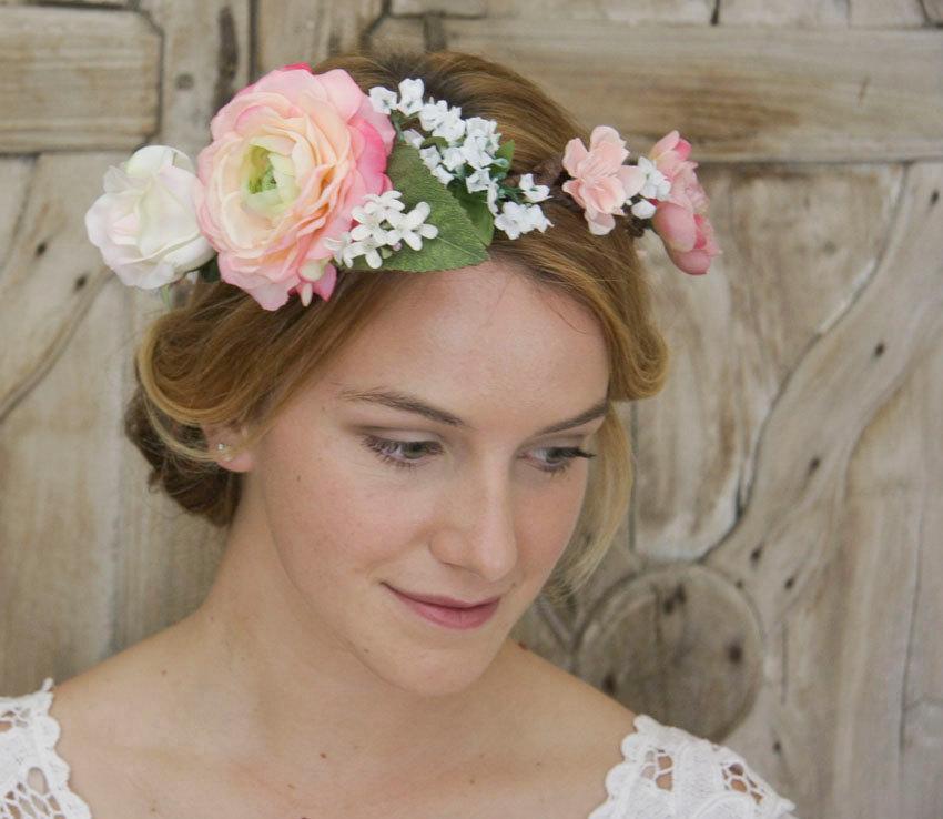 Wedding - Bridal hair wreath, Hair wreath, Cream rose crown, Flower headband, Wedding headpiece, Bridal hair accessories