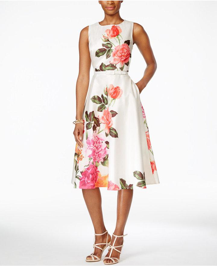 1622c5881390 Jessica Howard Belted Floral-Print A-Line Dress #2495587 - Weddbook