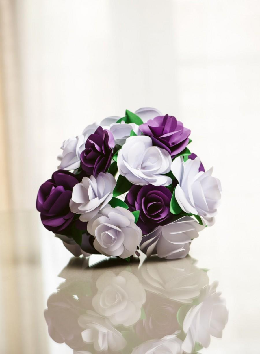 Paper Flower Bouquet Purple And White Paper Rose Wedding Bouquet