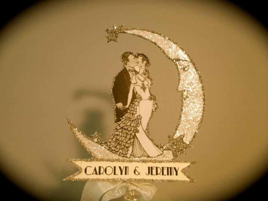 Свадьба - Wedding Cake Topper - Silver Screen - Small Size - Vintage Inspired Bride And Groom - Silver Glitter