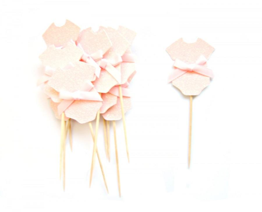 Hochzeit - 12 Pale Pink Baby Girl Cupcake Toppers - Baby cupcake toppers, Baby Girl cupcake toppers, Baby shower cupcake toppers
