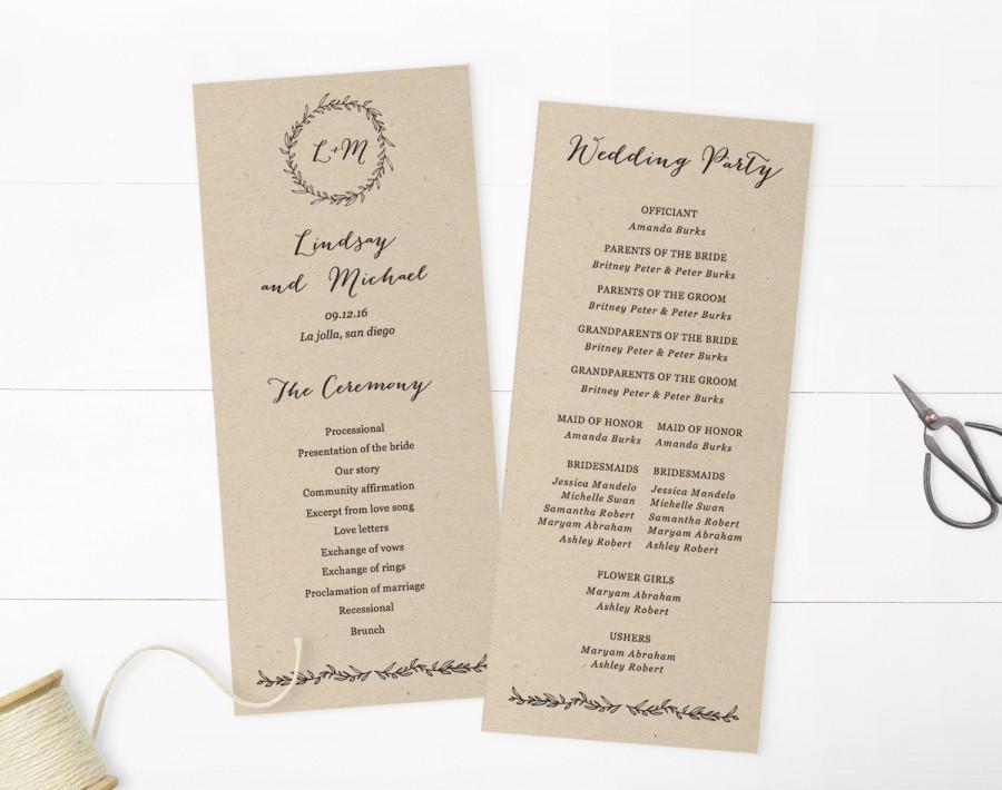 wedding programs template printable programs instant download