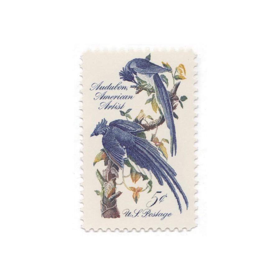 Wedding - 10 Unused Vintage Postage Stamps - 1963 5c John James Audubon - Item No. 1241