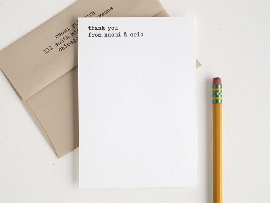 زفاف - Letterpress Thank You Card Set - Typewriter - Minimal Modern Flats - Editor