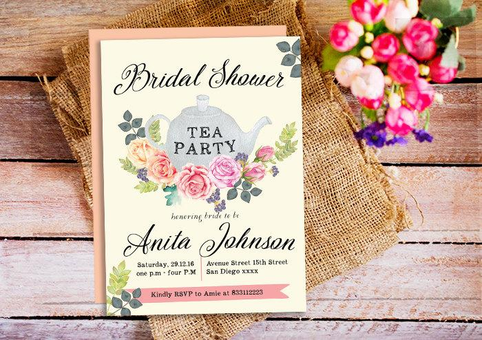 Bridal Shower Tea Party Invitations Tea Party Invite Mothers Day – Flower Party Invitations