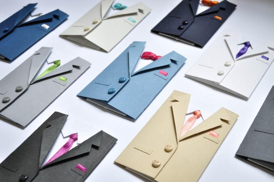 Wedding Suit Gift Card Holder Handmade Mini Greeting Envelope Best Man Or Groomsman Invitation