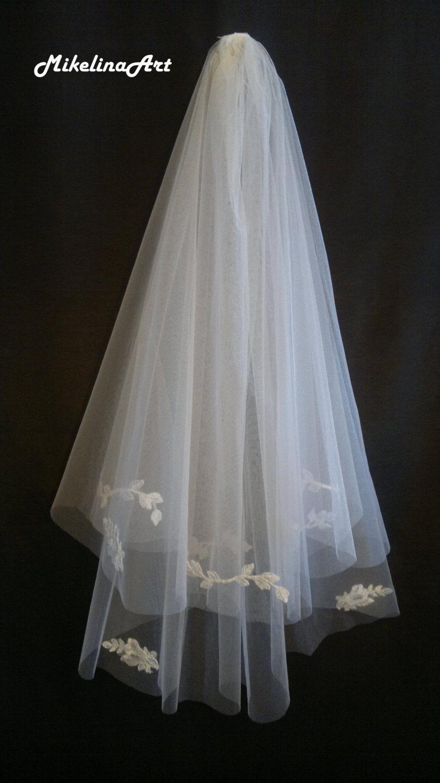 Wedding - White Wedding Veil, Two Layers