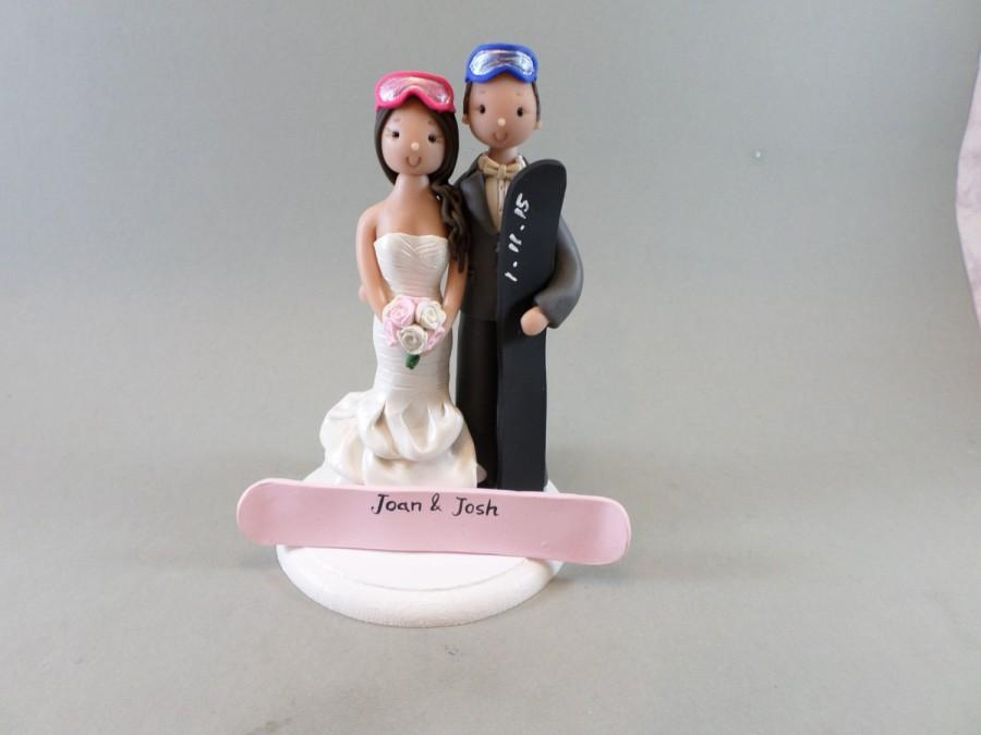 Bride Groom Personalized Snowboard Ski Theme Wedding Cake Topper