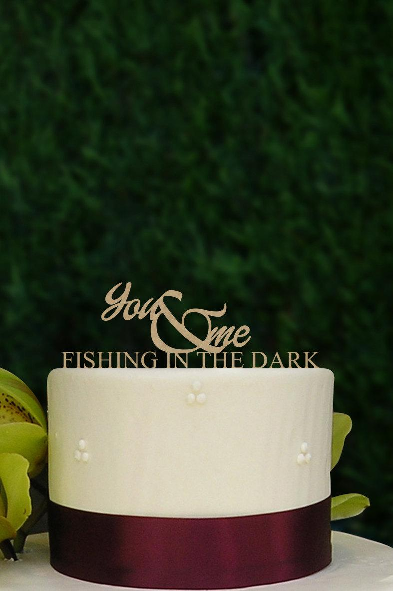 Свадьба - You and Me Fishing in the Dark, Rustic Wooden Monogram Cake Topper, Wooden Wedding Cake Topper A198