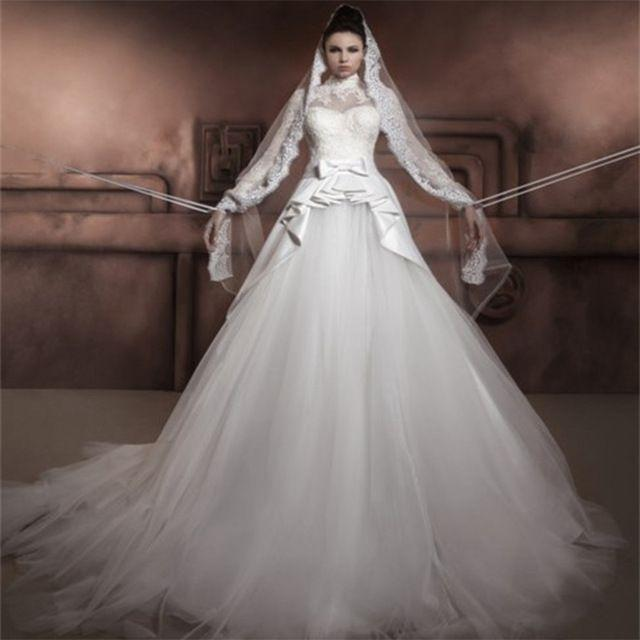 Muslim Wedding Dresses For Bride In : Wedding new design long sleeve muslim dress high neck a