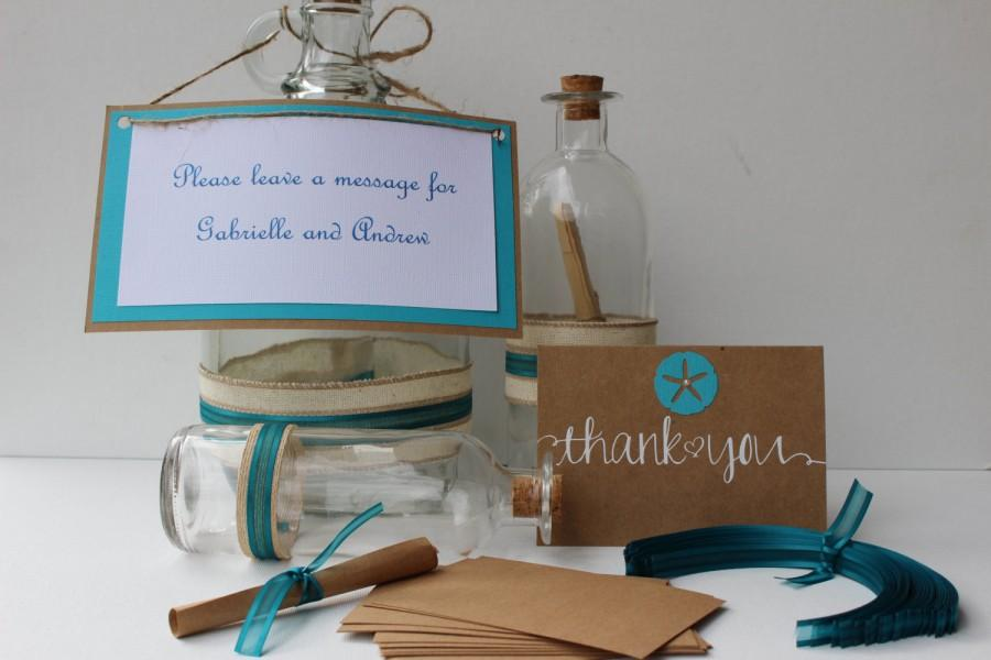 Mariage - Message in a Bottle - Wedding Guest book - beach/nautical/guest book/ Baby shower #2044