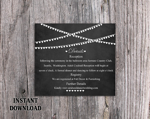 diy wedding details card template editable word file download