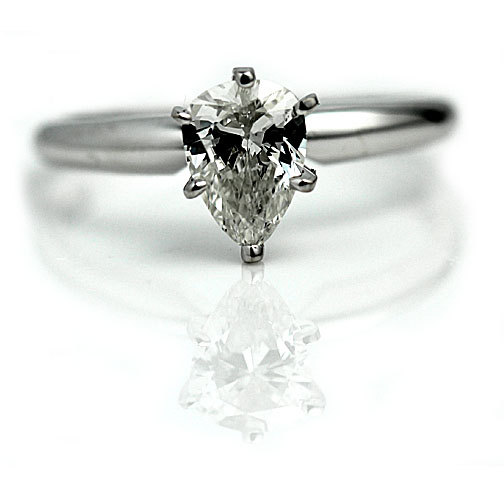 pear cut diamond vintage engagement ring 81ctw gia diamond wedding ring 14k white gold solitaire teardrop diamond ring size 65 - Teardrop Wedding Ring