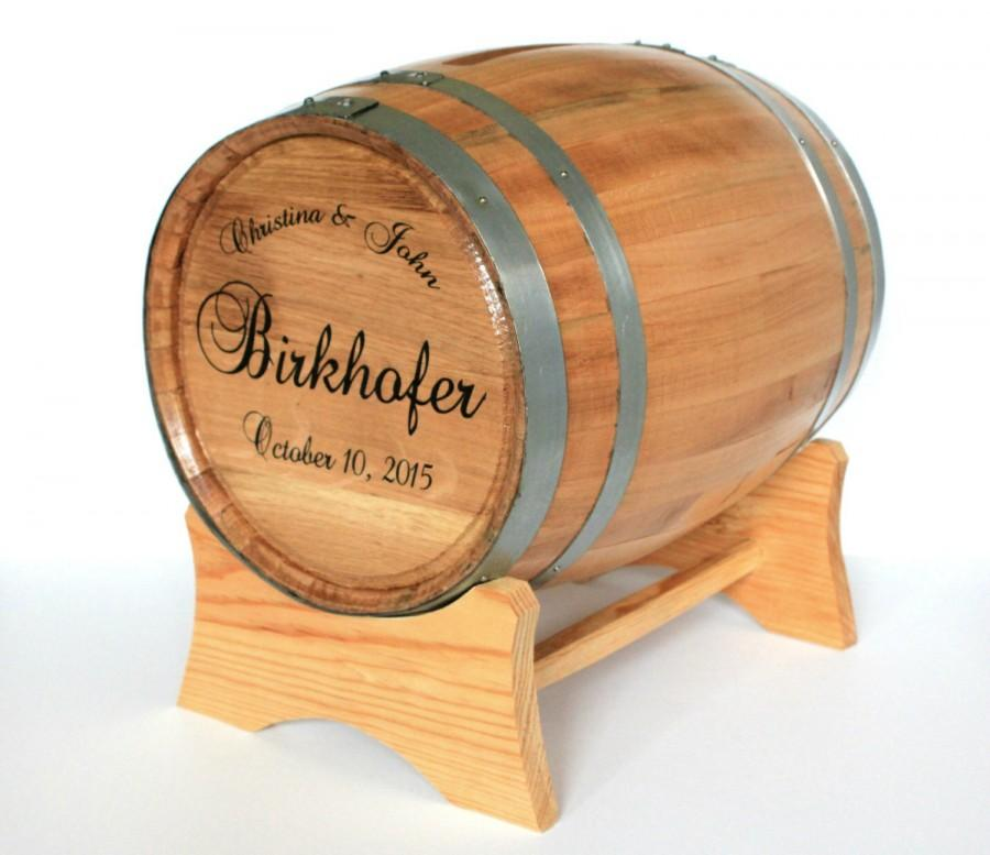 Wine Barrel Wedding Card Holder Engraved With Names And Date Box