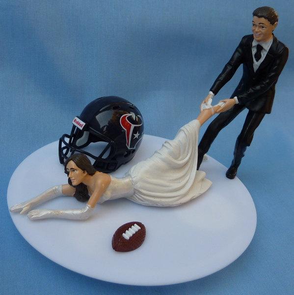 Wedding Cake Topper Houston Texans G Football Themed W Garter Groom Pulling Bride Away Humorous Sports Fans Unique Original Reception Item