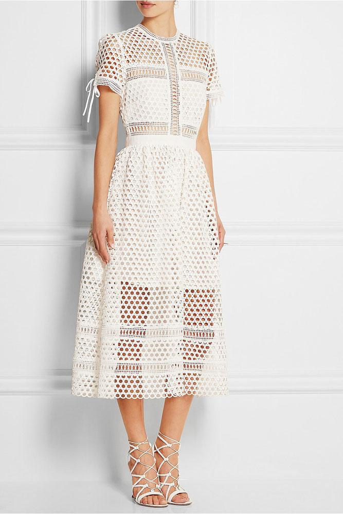 Hochzeit - Self Portrait Panelled Midi Lace Dress In White
