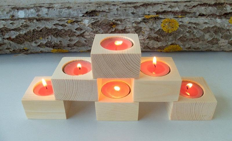 Square Wood Candle Holders - Set Of 6 - Wood Candle Holders ...