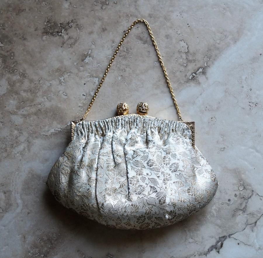 Wedding - Silk brocade clutch purse ~ formal evening bag ~ wedding clutch handbag ~ French vintage clutch ~ silver gold brocade ~ Albro France clutch