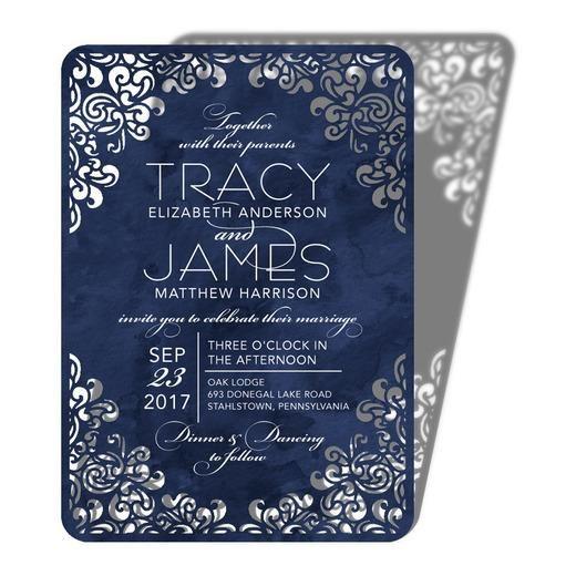 Wedding - Flourishing Diamond - Signature Laser Cut Wedding Invitations In Navy Or Grape