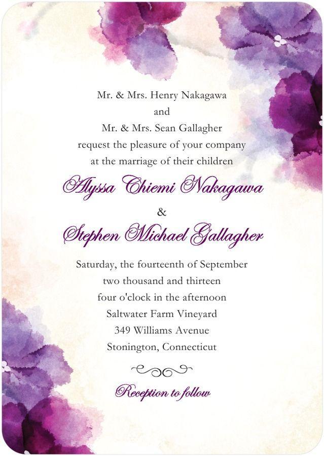 Soft Bougainvillea Watercolor Design Wedding Invitations In Purple ...