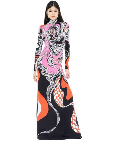 Hochzeit - 2016 Emilio Pucci High Collar Black Multi Print Maxi Dress