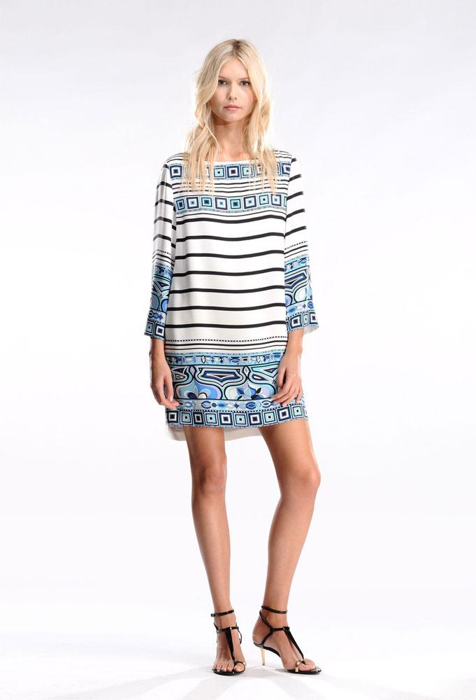 Hochzeit - Emilio Pucci Stripes Mixed Print Short Dress Blue