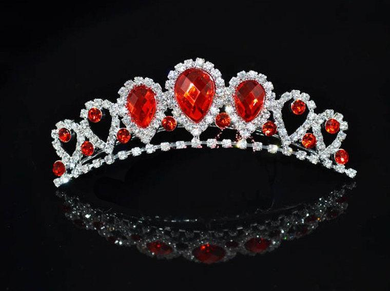 Свадьба - Stunning 3 Piece Red Rhinestone Teardrop Tiara Comb Necklace Drop Earring Set - Bridal Wedding Flower Girl Princess Birthday Photo Prop