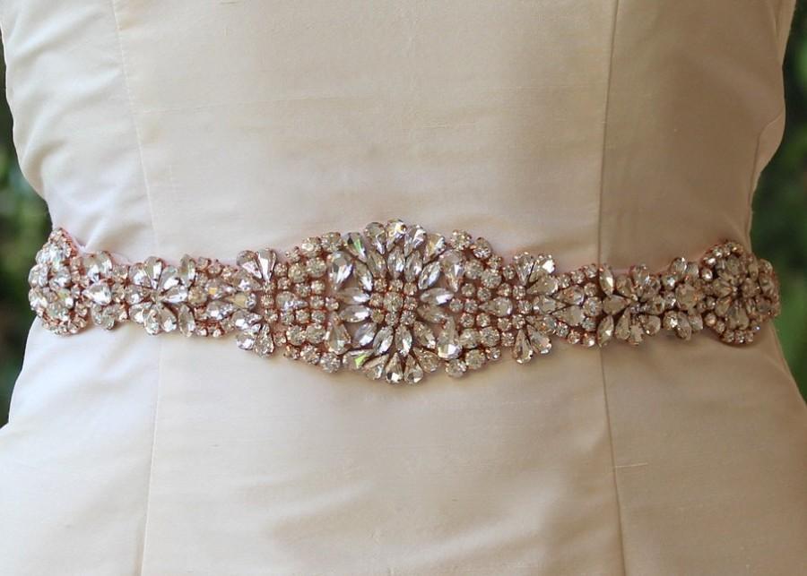Rose gold sash blush bridal sash crystal wedding belt for Gold belt for wedding dress
