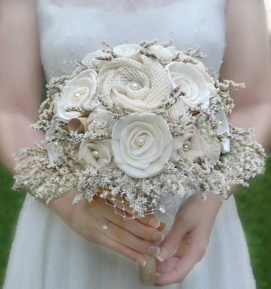 Rustic Wedding Bouquet, Cream, Ivory, Sola Wood, Flower Bouquet ...