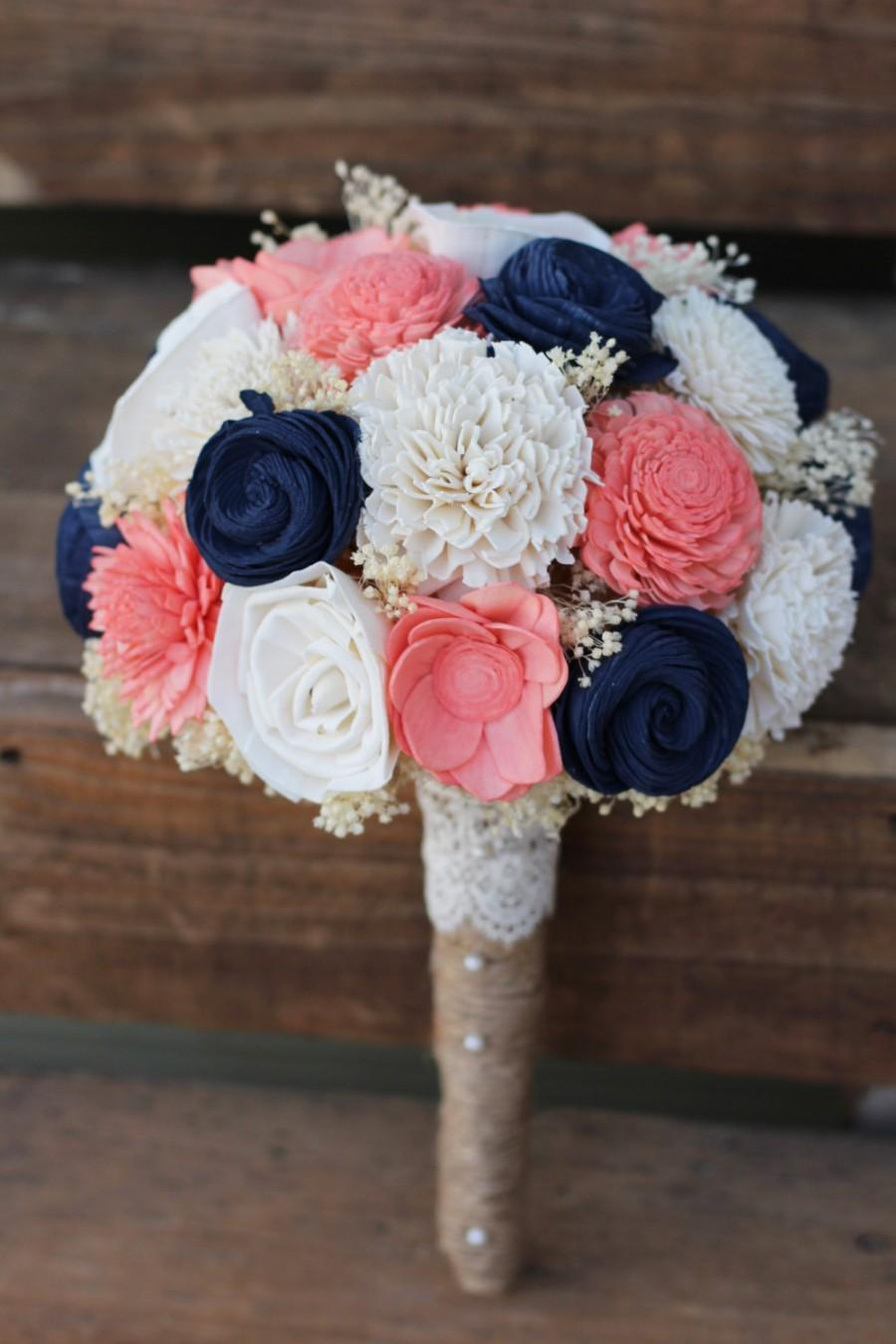 Wedding - Navy Coral Bouquet, wedding, wedding flowers, wedding bouquet, bridal bouquet, bridesmaid bouquet, keepsake bouquet, rustic bouquet