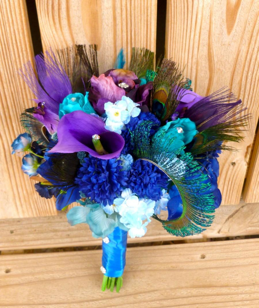 Mariage - Purple blue bridal bouquet with teal, rhinestone, peacock feather accent